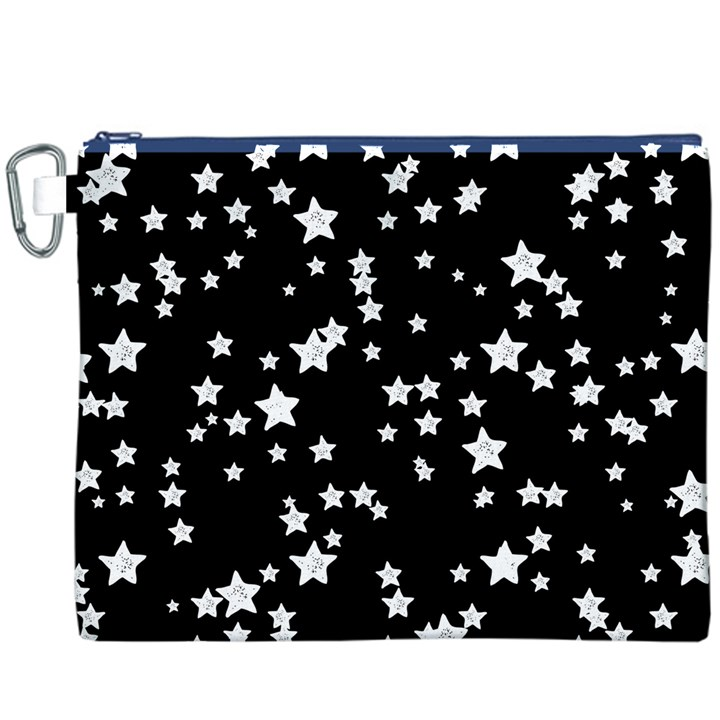 Black And White Starry Pattern Canvas Cosmetic Bag (XXXL)