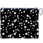 Black And White Starry Pattern Canvas Cosmetic Bag (XXXL) Back