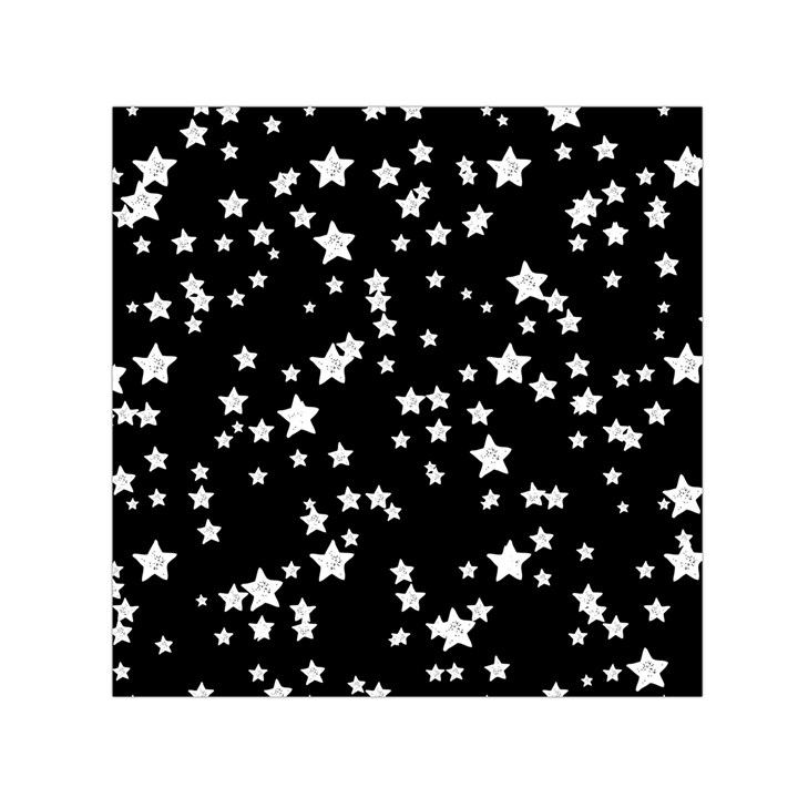 Black And White Starry Pattern Small Satin Scarf (Square)