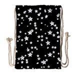 Black And White Starry Pattern Drawstring Bag (Large) Front