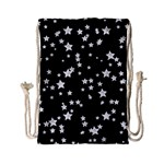 Black And White Starry Pattern Drawstring Bag (Small) Front