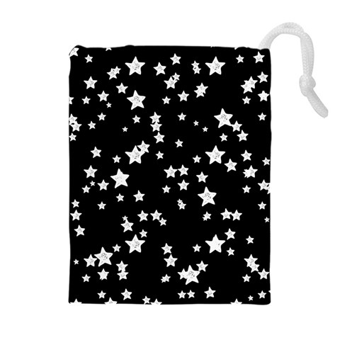 Black And White Starry Pattern Drawstring Pouches (Extra Large)