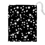 Black And White Starry Pattern Drawstring Pouches (XXL) Front
