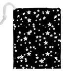 Black And White Starry Pattern Drawstring Pouches (XXL) Back