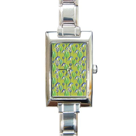 Tropical Floral Pattern Rectangle Italian Charm Watch