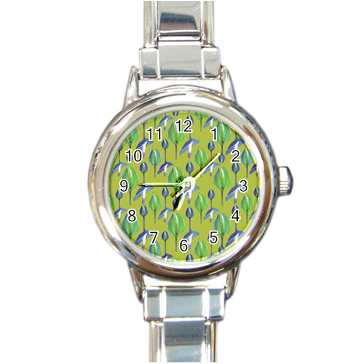 Tropical Floral Pattern Round Italian Charm Watch