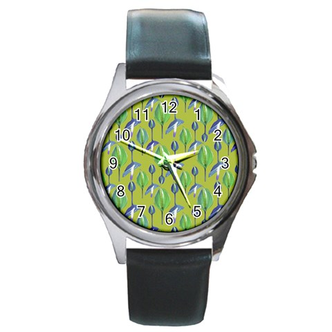 Tropical Floral Pattern Round Metal Watch