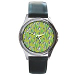 Tropical Floral Pattern Round Metal Watch Front