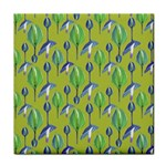 Tropical Floral Pattern Tile Coasters Front