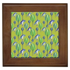 Tropical Floral Pattern Framed Tiles