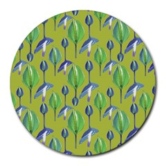Tropical Floral Pattern Round Mousepads