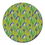 Tropical Floral Pattern Round Mousepads Front