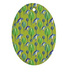 Tropical Floral Pattern Ornament (Oval)