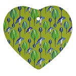 Tropical Floral Pattern Ornament (Heart)  Front
