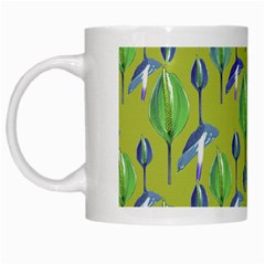 Tropical Floral Pattern White Mugs