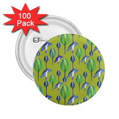 Tropical Floral Pattern 2 25  Buttons (100 Pack)