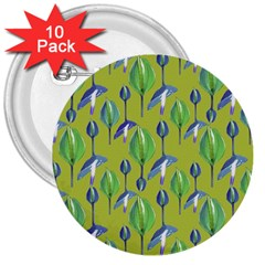 Tropical Floral Pattern 3  Buttons (10 pack)