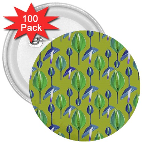 Tropical Floral Pattern 3  Buttons (100 pack)