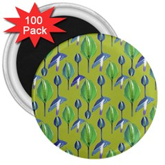 Tropical Floral Pattern 3  Magnets (100 pack)