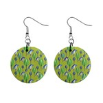 Tropical Floral Pattern Mini Button Earrings Front