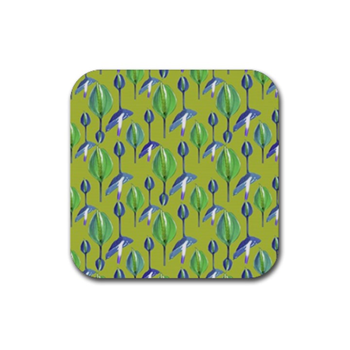 Tropical Floral Pattern Rubber Coaster (Square)