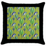 Tropical Floral Pattern Throw Pillow Case (Black) Front