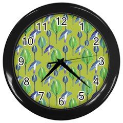 Tropical Floral Pattern Wall Clocks (Black)