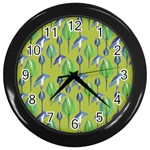 Tropical Floral Pattern Wall Clocks (Black) Front