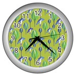 Tropical Floral Pattern Wall Clocks (Silver)  Front