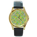 Tropical Floral Pattern Round Gold Metal Watch Front