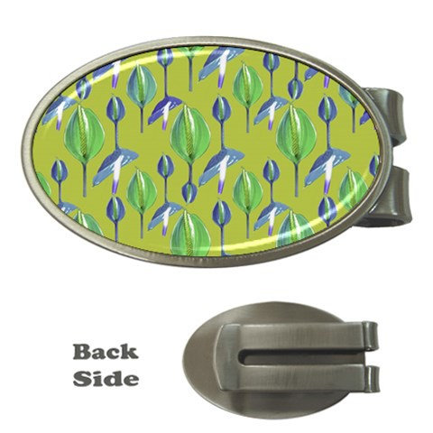 Tropical Floral Pattern Money Clips (Oval)