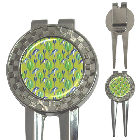 Tropical Floral Pattern 3-in-1 Golf Divots