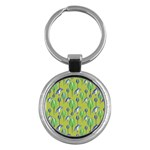 Tropical Floral Pattern Key Chains (Round)  Front