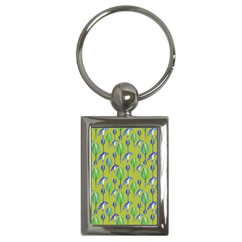 Tropical Floral Pattern Key Chains (Rectangle)