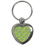 Tropical Floral Pattern Key Chains (Heart)  Front
