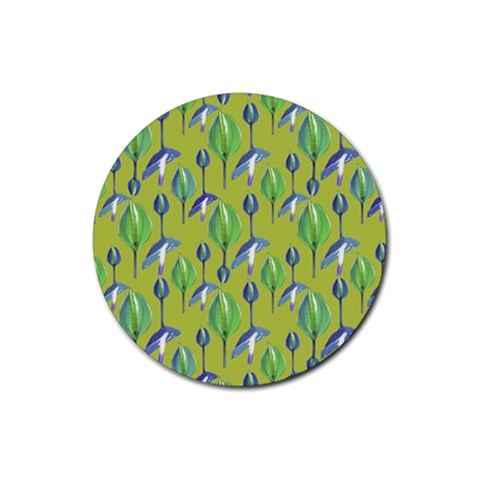 Tropical Floral Pattern Rubber Coaster (Round)