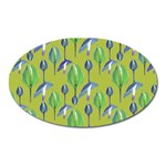 Tropical Floral Pattern Oval Magnet Front
