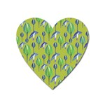 Tropical Floral Pattern Heart Magnet Front