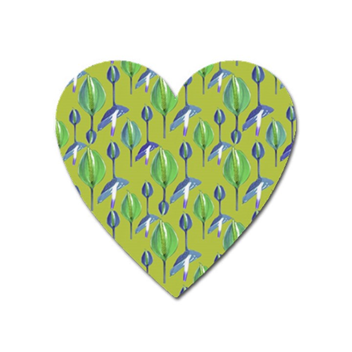 Tropical Floral Pattern Heart Magnet