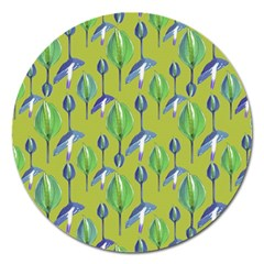 Tropical Floral Pattern Magnet 5  (Round)
