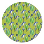 Tropical Floral Pattern Magnet 5  (Round) Front