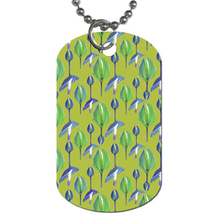 Tropical Floral Pattern Dog Tag (One Side)