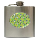 Tropical Floral Pattern Hip Flask (6 oz) Front