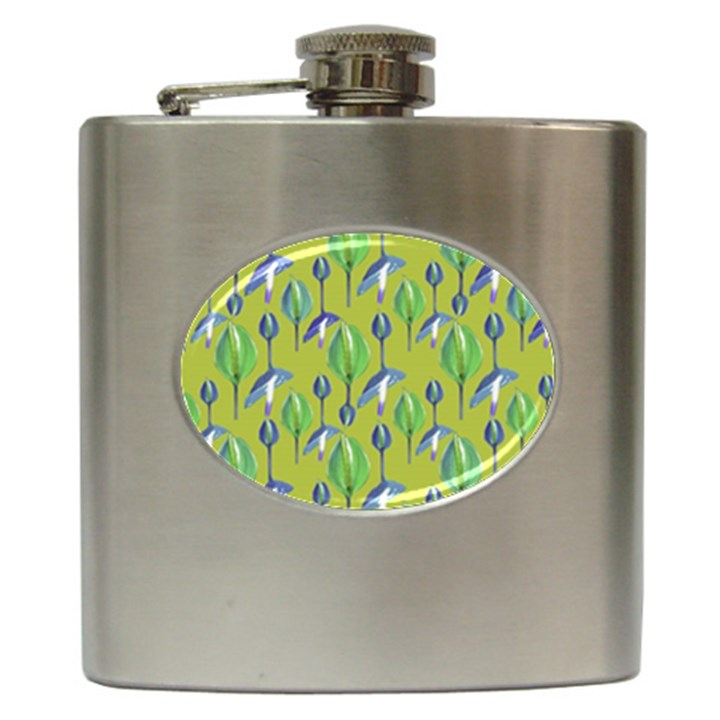 Tropical Floral Pattern Hip Flask (6 oz)