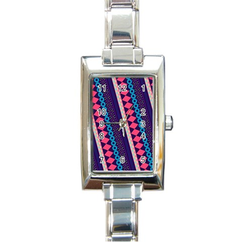Purple And Pink Retro Geometric Pattern Rectangle Italian Charm Watch