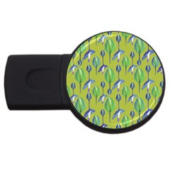Tropical Floral Pattern USB Flash Drive Round (2 GB)