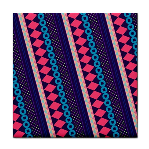 Purple And Pink Retro Geometric Pattern Tile Coasters