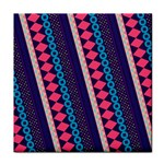 Purple And Pink Retro Geometric Pattern Tile Coasters Front