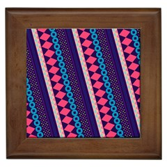Purple And Pink Retro Geometric Pattern Framed Tiles