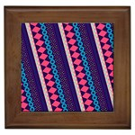 Purple And Pink Retro Geometric Pattern Framed Tiles Front